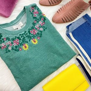 Lucky Brand Green Floral Embroidered Sweatshirt